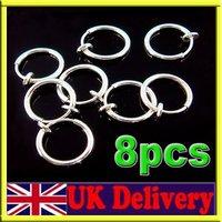 8 Clip On Fake Piercing Nose Lip Hoop Rings Earrings Silver 13mm Stainless[99069]