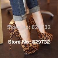 Free shipping 2014 new women pumps High-heeled shoes platform thin heels leopard print women's shoes