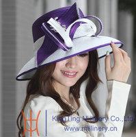 New Kentucky  Derby Wedding Dress Wide Birm Hat 100% Polyester Satin Ribbon Hat Diamond Casings Women Formal Hat White Purple