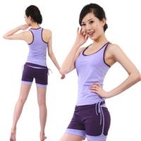 Yoga clothes set fitness clothing spring and summer aerobics clothing tank shorts purple color yoga sets