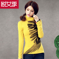 Art Tops Women Autumn Winter Tops For Women Feather Print Long Sleeve Shirts Women slim