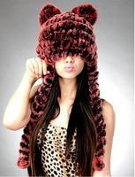 4 color Free shipping women's  fashion warm real rex rabbit fur hat