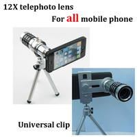 New arrival CanDo 12X lens for mobile phone good quality portable telephoto lens with phone universal clip drop/free shipping