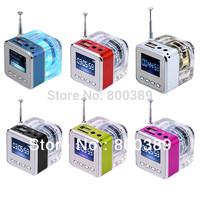 Wholesale TT-028 Mini Portable Speaker LCD Screen Music MP3 Player Micro SD/TF HiFi Speakers USB Disk and FM Radio Free Shipping