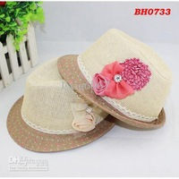 Wholesale - Children Summer Fedora Hat Girls Flower Jazz Cap Baby Hat Kids Straw Cowboy Hat Straw Cap Dicers