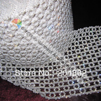 (free Express shipping) 10yards/lot Round black/white plastic clear crystal rhinestone trimming with SS8 stones