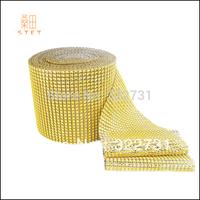 Free Shipping Wedding Favor Yellow Diamond Mesh Roll for Decoration