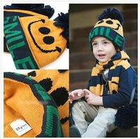 Free shipping 2013 latest han edition smiling face hat + scarf 3 kinds of color