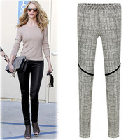 Drop shipping 2014 New Women's Pants Elastic Plaid Pencil Pants Slim Boots Pants Leggings Long Trousers