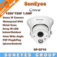 SunEyes ONVIF 1280*720P HD 1.0MP Dome IP Camera Outdoor/Indoor Waterproof IP66 Array LED IR Night Vision P2P Plug Play SP-Q710