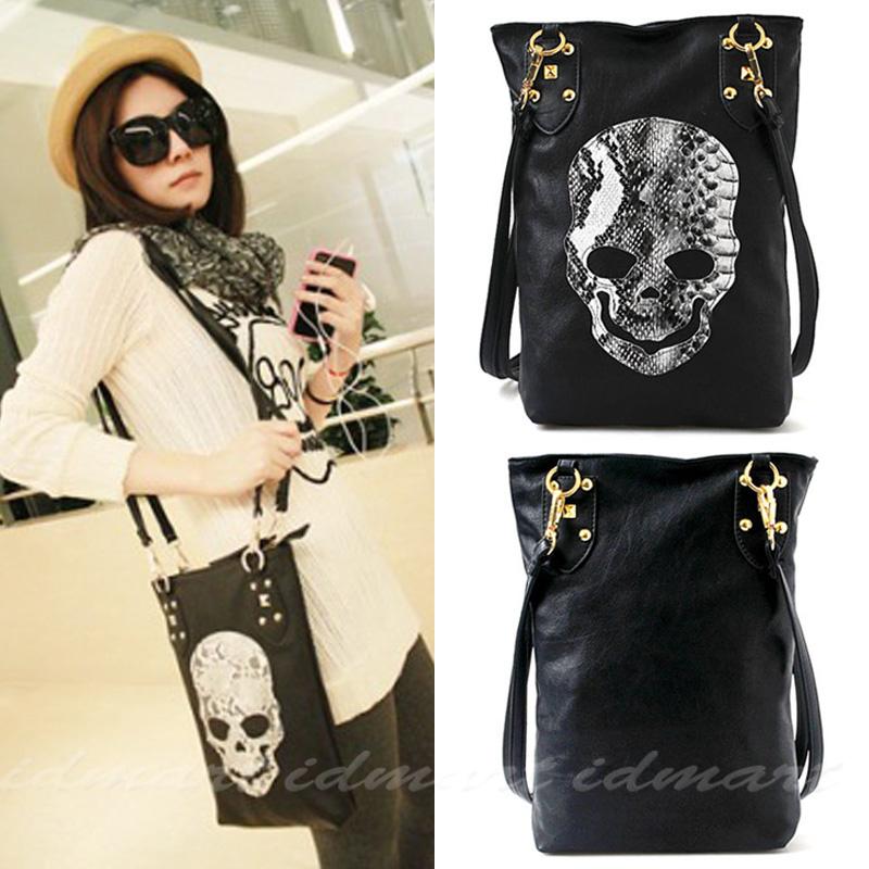 Woman Lady Gender Vintage Pu Skull Rivet Hobo Rock and Roll Shoulder Handbag Satchel Tote Bag(China (Mainland))