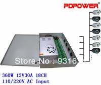 18 Ports 30A Security Camera DC 12V Power Supply Box 18CH, CE/Rohs/FCC/IEC & 2-year warranty