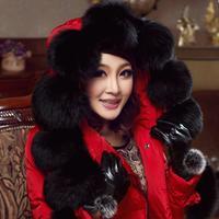 free shipping new 2013 women's down coat fox fur medium-long slim down coat women winter jacket thickening parka Down & Parkas
