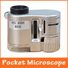 60X LED iluminado bolsillo portátil Mini microscopio lupa valoración de la joyería de electrónica reparación de lupa lupa