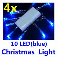 4 x Mini 10 LED Wedding Christmas String Fairy Lights White  Free Shipping