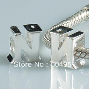1PCS lot 925 Sterling Silver Letter N Charm Beads Fits Chamilia Pandora Style Bracelets Jewelry