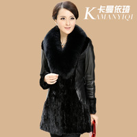 Autumn and winter genuine leather female medium-long down coat ultralarge thickening fox fur leather clothing mink overcoat