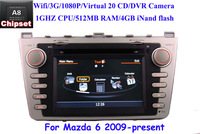 Brand 3G Car DVD GPS Navi Headunit for New Mazda 6 (2009-2012) GPS dual zone Virtual 20 CD 1080P