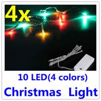 4 x  Multi Colors 4 Colors 10 LED Christmas Light Lights Decro Tree Lamp Lights Free Shipping