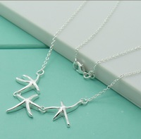 N58   silver starfish necklace Loose Money price, Fashion Jewelry, Free shipping 925 silver  pendant necklace, silver jewelry