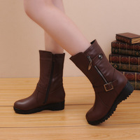 Free Shipping Hot Selling Autumn PU Leather Women Wedges Boots Warm Shoes Winter USA Size5.5-8.5 Black/Brown Color