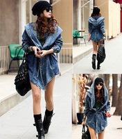 Free shipping 2013 New High Quality Women's Denim Coat Hoodie Coat Hooded Outerwear Jeans Jacket WT3101
