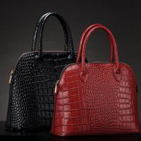 Women's handbag crocodile pattern genuine leather cowhide send mom white collar fashion handbag bag black red bridal bag