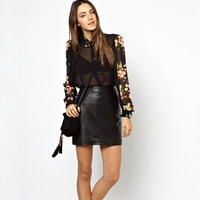 New Fashion Women's Elegant Long Sleeve Lapel Shirts tops with Flower Printing Chiffon Black Casual Sexy Black Blouses
