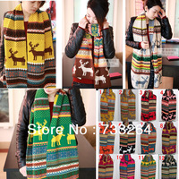 2013 New Fashion Christmas Gift Deer Printed Scarves Winter Long Warm Soft Shawls For Ladies Multicolour colorful knitted