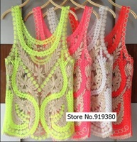 New 2014 Fashion Women Sheer Embroidery Floral Lace Crochet Vest Tank Top Tee Shirt Blouse Drop Shopping