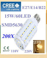 200pcs Super brightness 15W E27 E14 B22 SMD 5630 60 LED Screw Corn Light  360 degree lighting angle led bulb FREE SHIPPING
