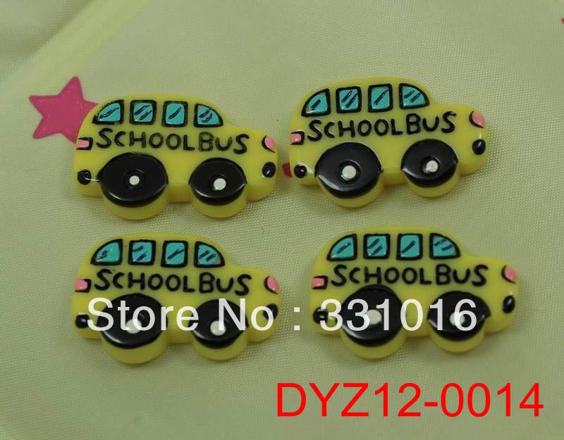 STOCK! HOT! 30pcs School Bus Resin Flatbacks For Hair Phone Home Decoration DIY Making Craft Embellishments Free Shipping(China (Mainland))