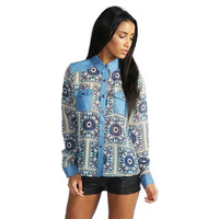 New Fashion Women's Bohemian style Long Sleeve Lapel Shirts Vintage Geometric Print with Jean patchwork Poclets Casual Blouses