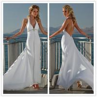 2015 New Free Shipping Chiffon V Neck Halter White / Ivory Beach Wedding Dresses # 1134