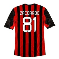 New 13/14 AC Milan Home Jerseys #81 ZACCARDO Red Black13-14 Football kits Soccer Unforms 2013-2014 Cheap Soccer Jersey