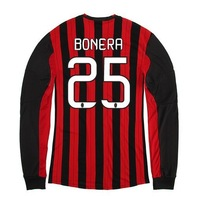Free Shipping 13/14 AC Milan Home Long Sleeve #25 BONERA Jerseys Red Black Football kit 2013-2014 Cheap Soccer Uniforms
