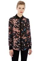 Free Shipping Fashion Quality 2013 Print Silk Shirt Women's Shirt Long Sleeve