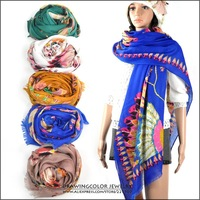 2013 New Fashion Womens Sweet feather national style Scarf large flower print Shawl Long Stole High quality