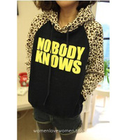 Autumn and winter 2013 plus size female plus velvet sweatshirt outerwear leopard print letter print hoodie sweatshirt