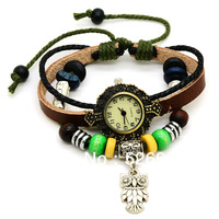 Free Shipping 2pcs/lot Vintage ladies watch Owl Pendant item hours Bead Bracelet Watches Fashion Watches