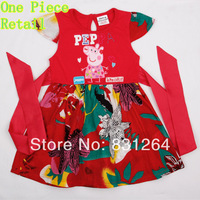 Free Shipping H4456# Hot Selling 100% Cotton Nova Kid Wear Baby Girls Floral T Shirts Embroidery Peppa Pig Beautiful Dress
