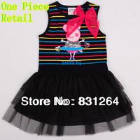 Free Shipping Peppa Pig Girls' Dresses New Fashion 2014 Kids Wear Baby Dresses Casual Nova Girls Lace Dresses H4469