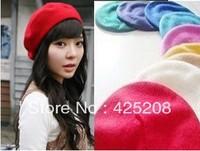 Wool beret pure color painter cap bowler hats