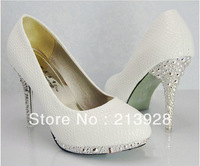 Selling White snakeskin pattern women high-heeled shoes 10cm high heel bridal shoes Europe Size 35-39 Wedding shoes Shoes 1pair