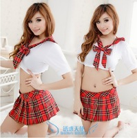 Sexy Red plaid school wear hot lingerie top skirt twinset red plaid mini skirt cosplay uniform free shipping