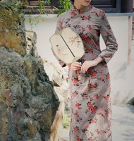 Cheongsam vintage 7 long-sleeve medium-long 100% thickening cotton flock printing long Qipao