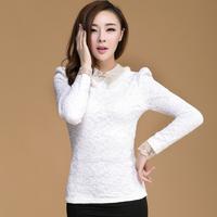 2013 Elegant Korean Women's All-Match Lace Shirt Rabbit Fur Plus Velvet Slim Waist Long-Sleeve Basic Shirt Female Formal Tops