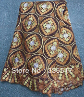 FREE SHIPPING By DHL!!Heavy Swiss Voile Lace High Quality With Stones,5Yards/Piece,African Embroidery Cotton coffee color  FL482
