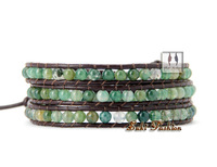 Fine Quality Natural Moss Agate Leather Bracelet Wrap Beaded Bracelets Wholesale Fashion Bracelets Unisex