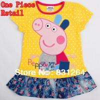 Free Shipping peppa pig girls' dresses summer 2013 kids dress baby dress tutu girl dresses casual girls clothes t-shirts H4385